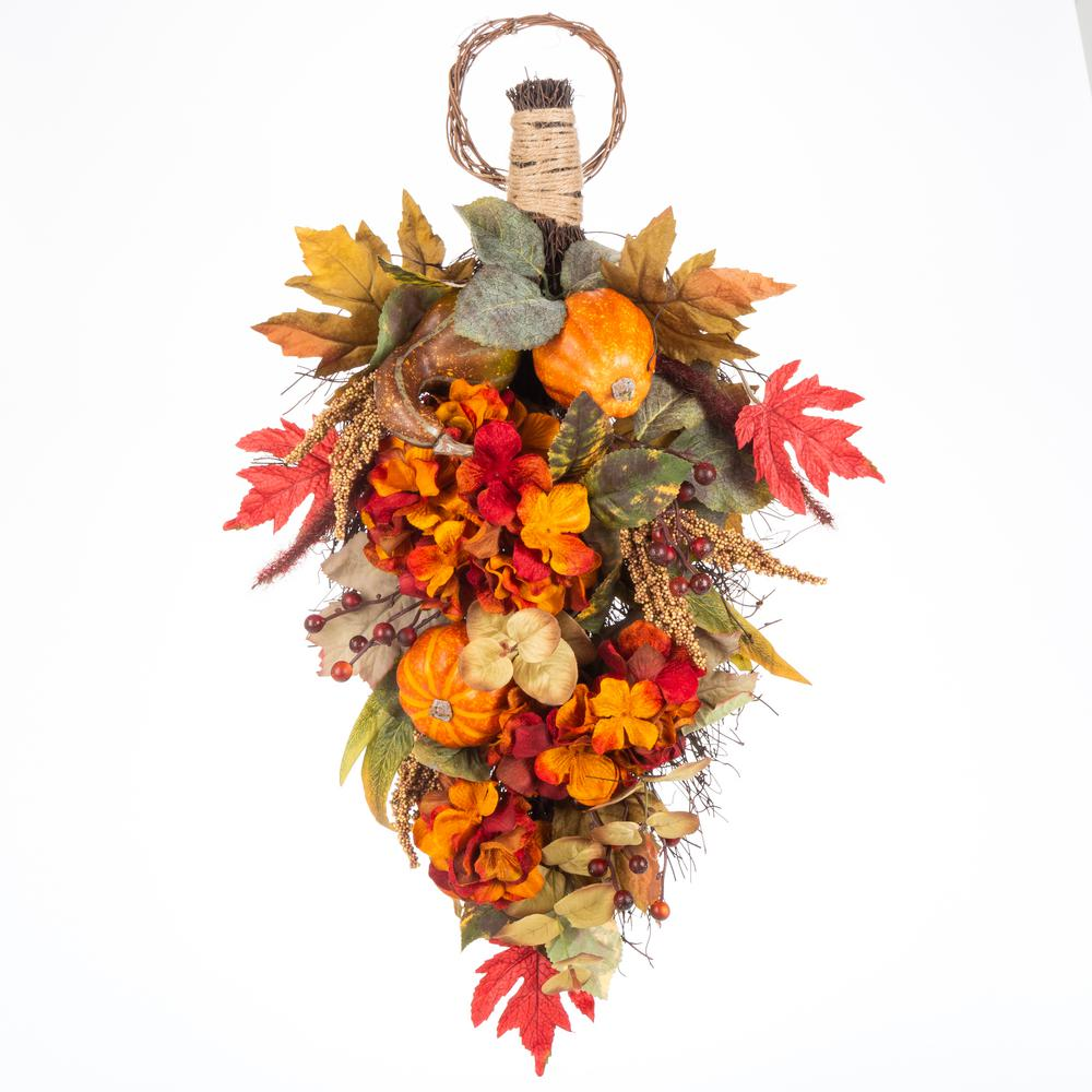 Home Accents Holiday 26 in. Harvest Hydrangea and Pumpkin Teardrop