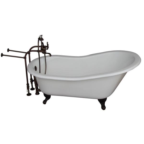 Barclay Products 5 6 Ft Cast Iron Ball And Claw Feet Slipper Tub In White With Oil Rubbed Bronze Accessories Tkctsn67 Orb2 The Home Depot
