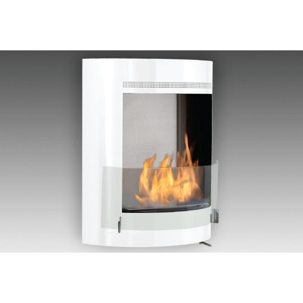 Malibu 19 In Ethanol Wall Mounted Fireplace In Gloss White With Stainless Interior Wu 00122 Sw