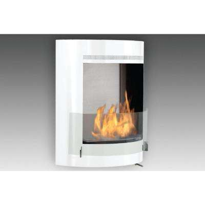 Malibu 19 in. Ethanol Wall Mounted Fireplace in Gloss White with Stainless Interior