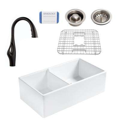 Brooks All-in-One Farmhouse Apron Fireclay 33 in. 60/40 Double Bowl Kitchen Sink with Pfister Kai Black Faucet and Drain