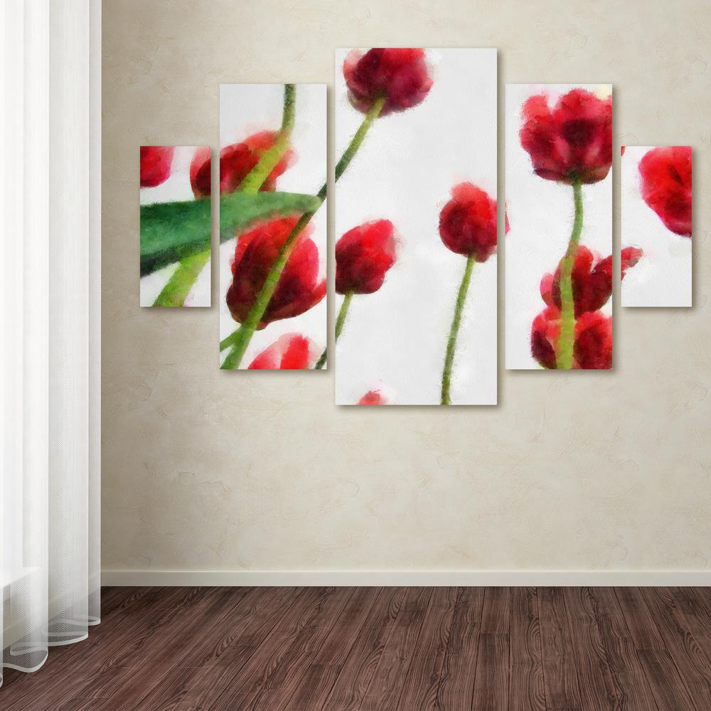 "40 in. x 58 in. ""Red Tulips from Bottom Up II"""