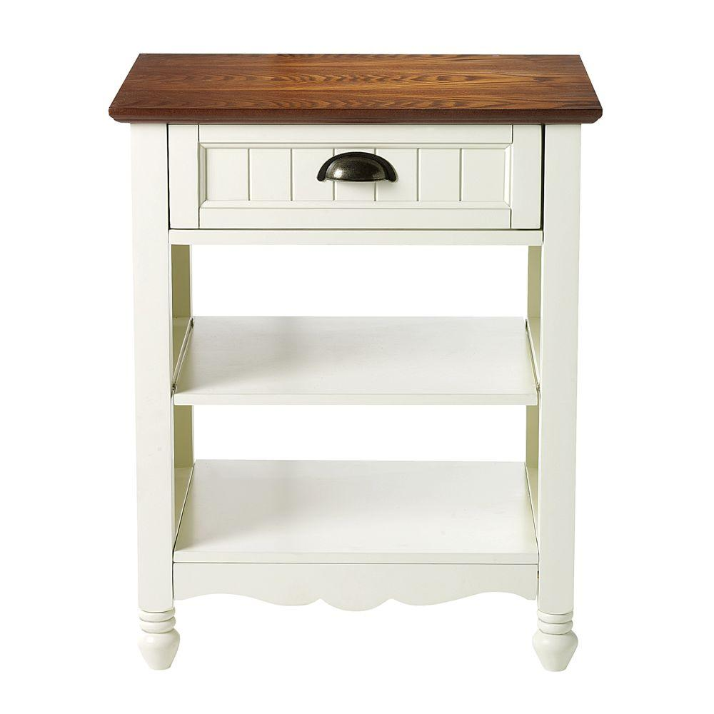 Home Decorators Collection 21 in. W Southport Ivory and Oak End Table
