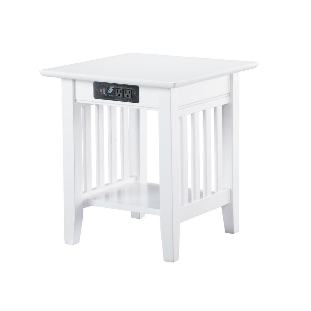 Mission White End Table with Charging Station