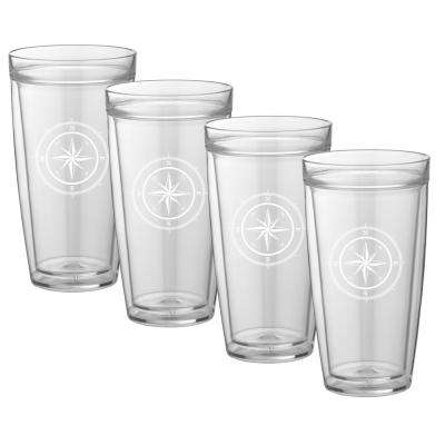 Kasualware Compass Point 22 oz. Doublewall Tall Tumbler (Set of 4)