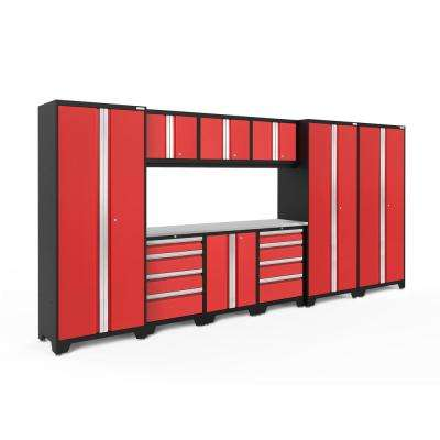 Bold 3.0 77.25 in. H x 162 in. W x 18 in. D 24-Gauge Welded Steel Garage Cabinet Set in Red (10-Piece)