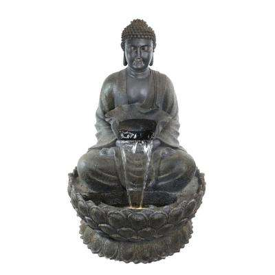 54 in. Tall Buddha Zen Fountain with LED Light Gray