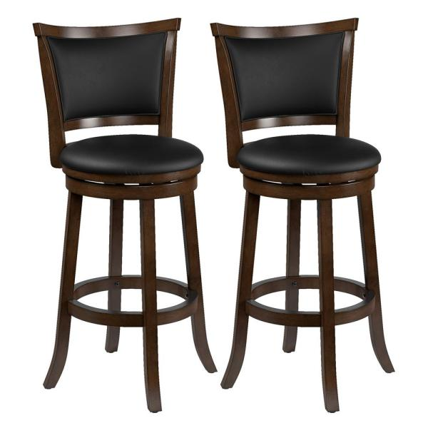 Woodgrove 29 in. Wood  Swivel Bar Stools with  Black Bonded Leather Seat and Backrest (Set of 2)