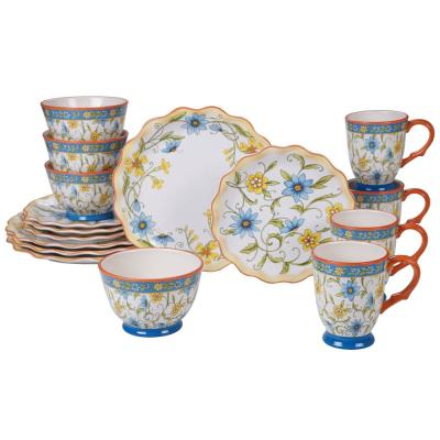 Torino 16-Piece Multi-Colored Dinnerware Set