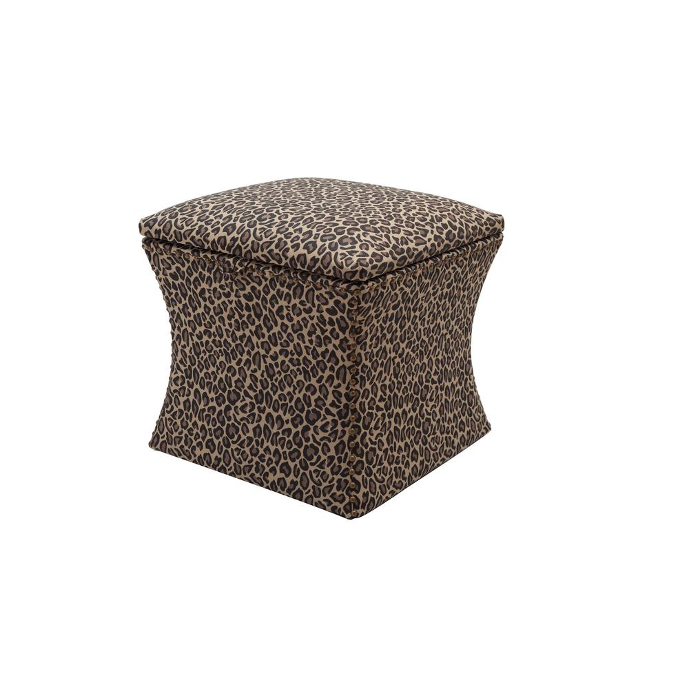 Holly Brown And Beige Storage Ottoman