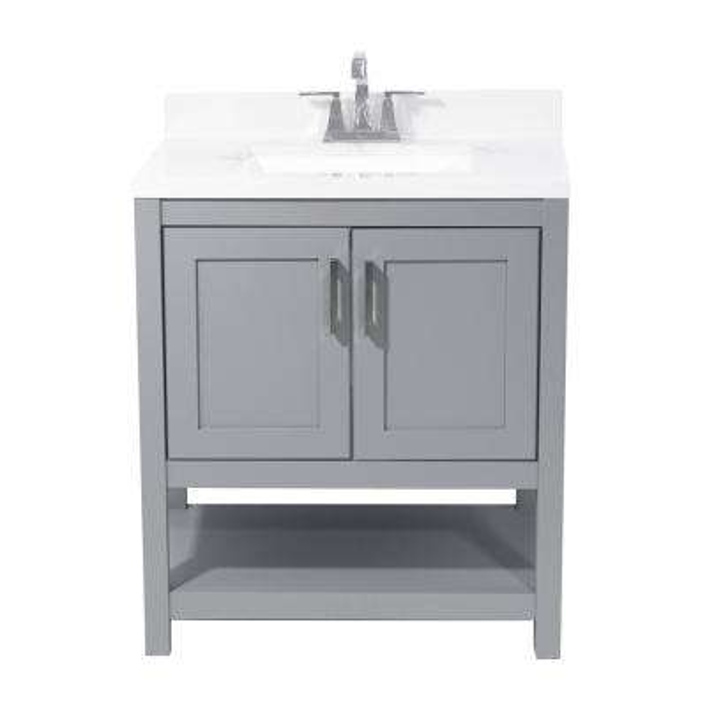 Tufino 31 in. Bath Vanity in Grey with Cultured Marble Vanity Top w/ Backsplash in Carrara White with White Basin
