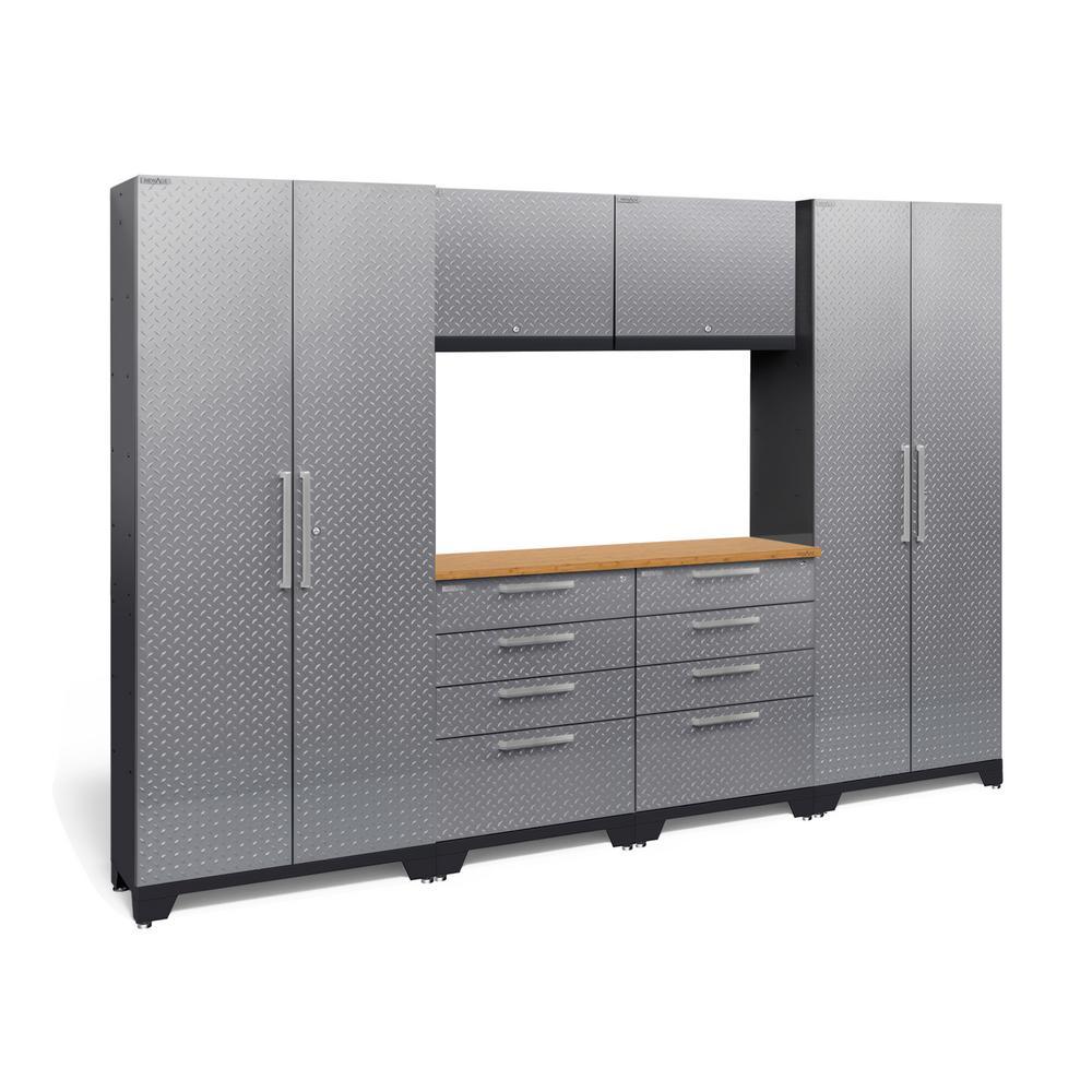 Performance Diamond Plate 2.0 72 in. H x 108 in. W x 18 in. D Garage Cabinet Set in Silver (7-Piece)