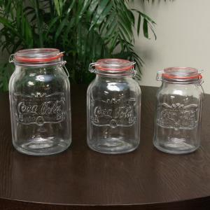 Country Classic 3-Piece Glass Preserving and Storage Jar Set with Wire Ball and...