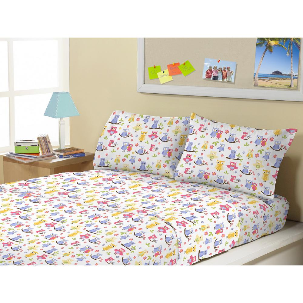 3-Piece Owls Twin Sheet Set