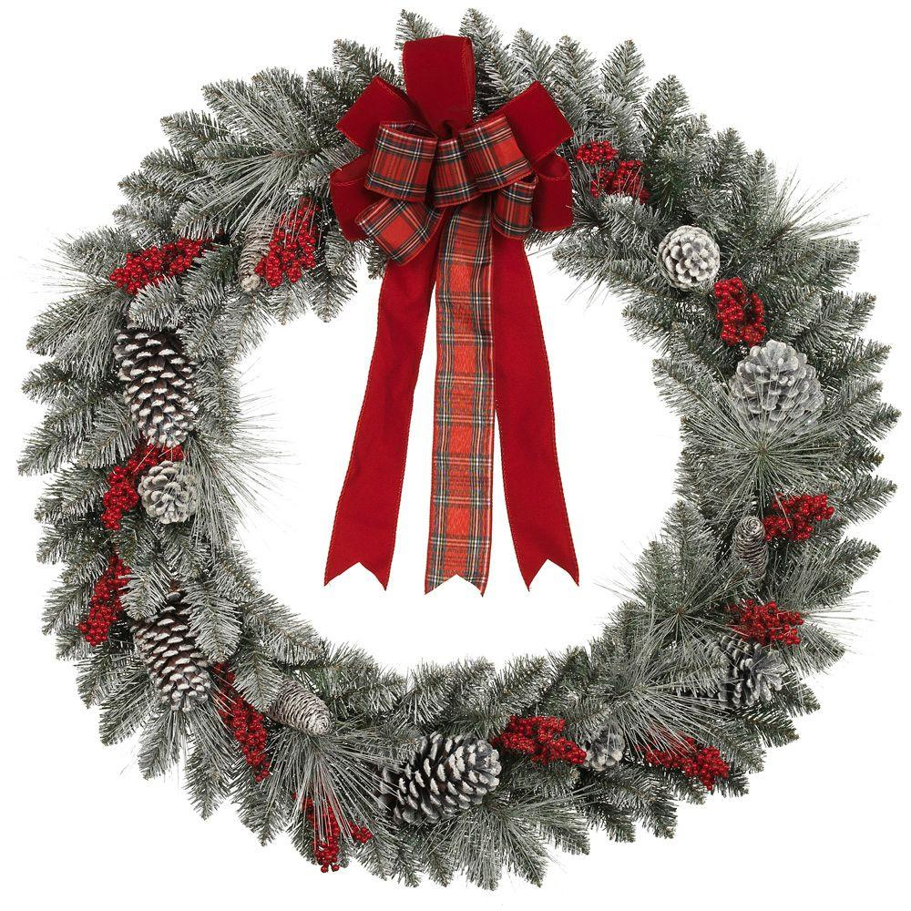 null 36 in. Snowy Pinecone and Berry Mixed Pine Artificial Wreath