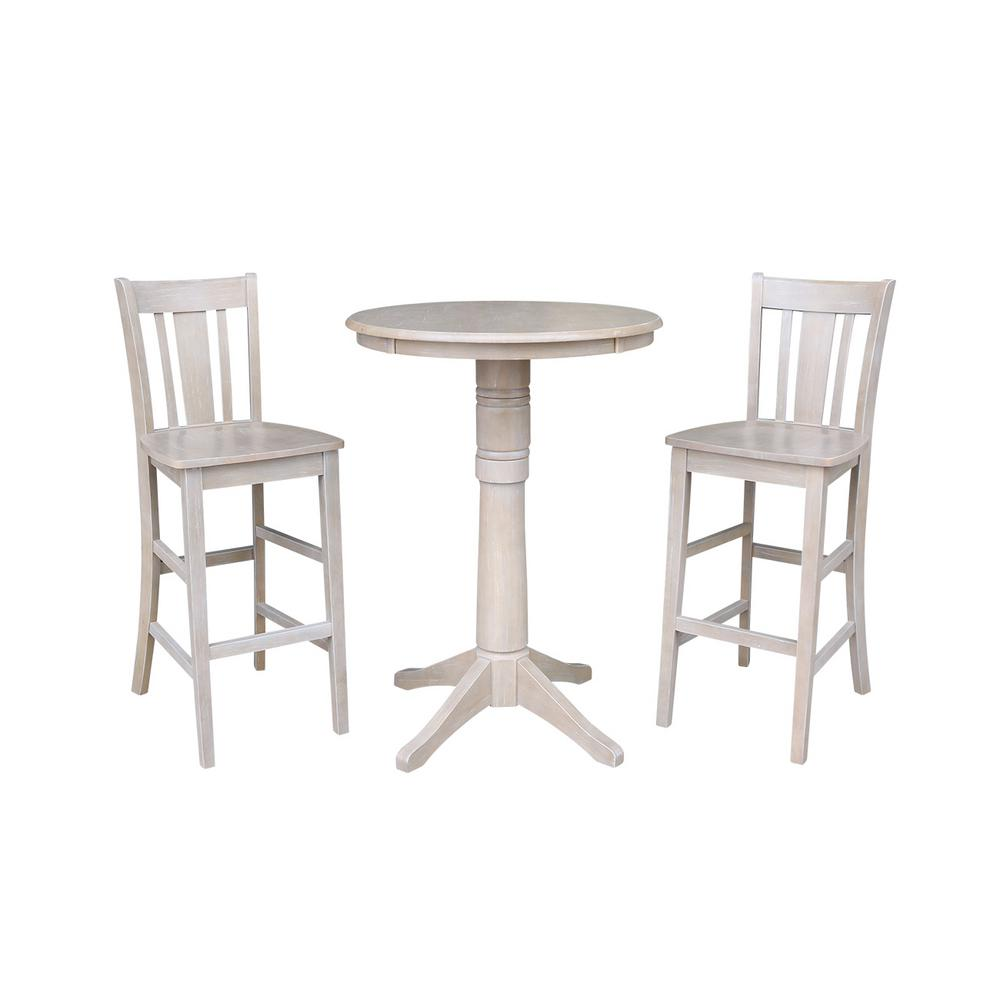 International Concepts Olivia 3 Piece 30 In Round Weathered Taupe Gray Solid Wood Bar