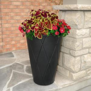 Self-Watering Versailles 26 in. Black Tall Round Planter