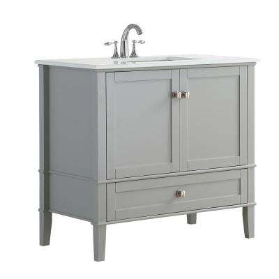 36 in. W x 21.5 in. D x 34.7 in. H Vanity in Grey with Engineered Quartz Marble Vanity Top in White with White Basin