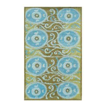 Suzani Tile Blue 5 ft. x 8 ft. Indoor Area Rug