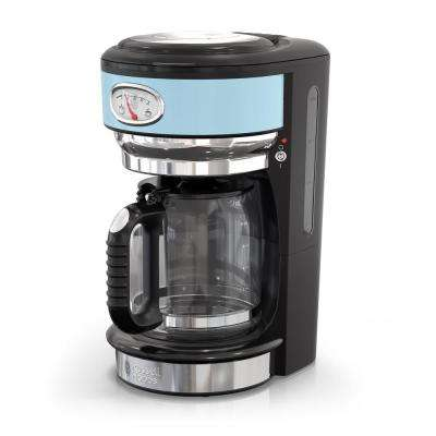 Retro Style 8-Cup Coffeemaker in Heavenly Blue and Stainless-Steel