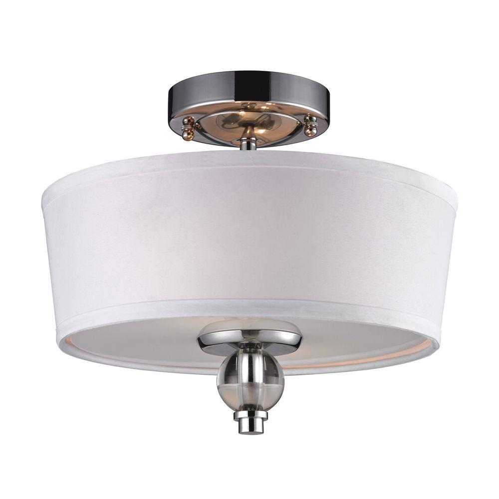 Martina 2-Light Polished Chrome Ceiling Semi-Flush Mount Light