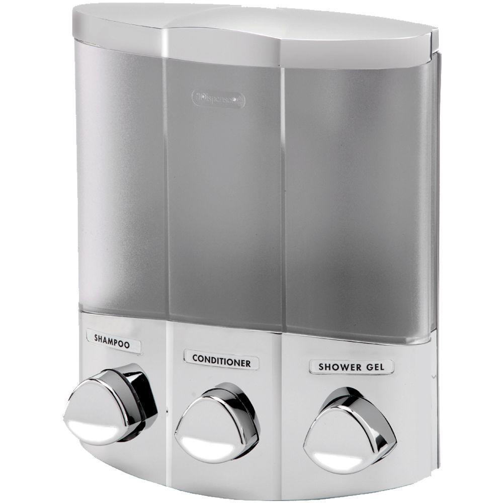 Trio Corner Dispenser in Satin Silver