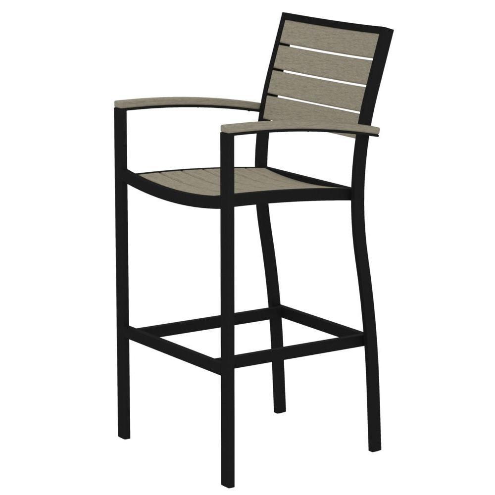 Euro Textured Black All Weather Aluminum Plastic Outdoor Bar Arm Chair In Sand