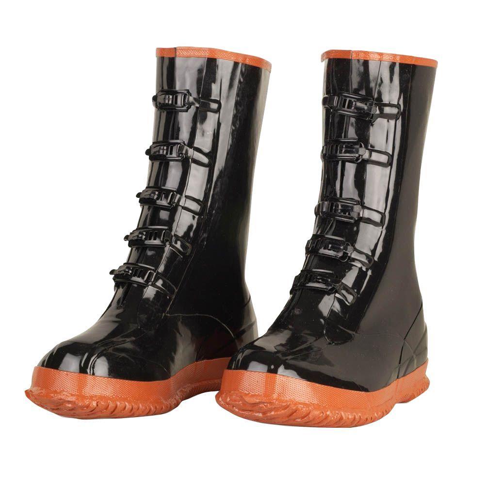 Men Size 10 Black Heavy Duty PVC 5 Buckle Boots