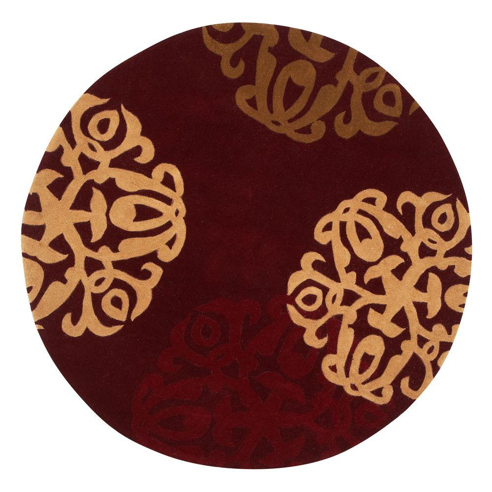 Superior Home Decorators Collection Chadwick Burgundy/Gold 8 Ft. Round Area Rug