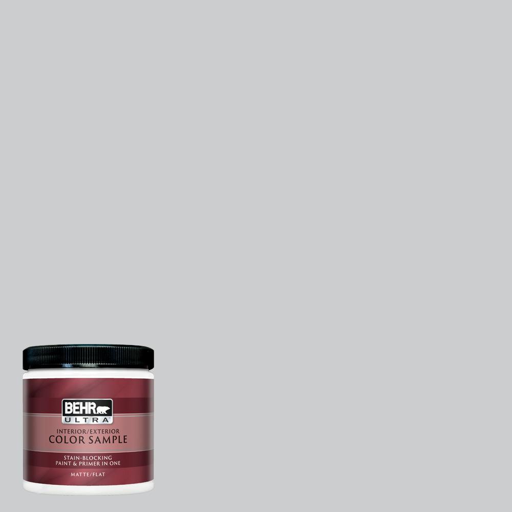 BEHR ULTRA 8 oz  #770E-2 Silver Screen color Matte Interior/Exterior Paint  and Primer in One Sample