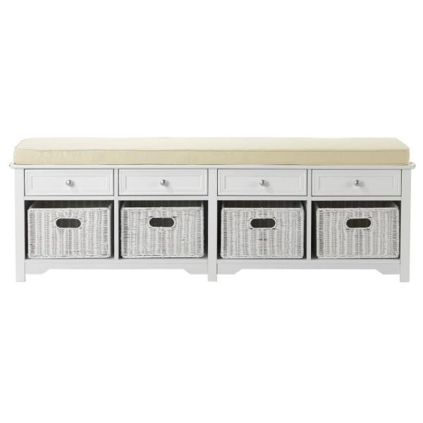 Home Decorators Collection Oxford White 4-Basket Storage Bench 6055520410