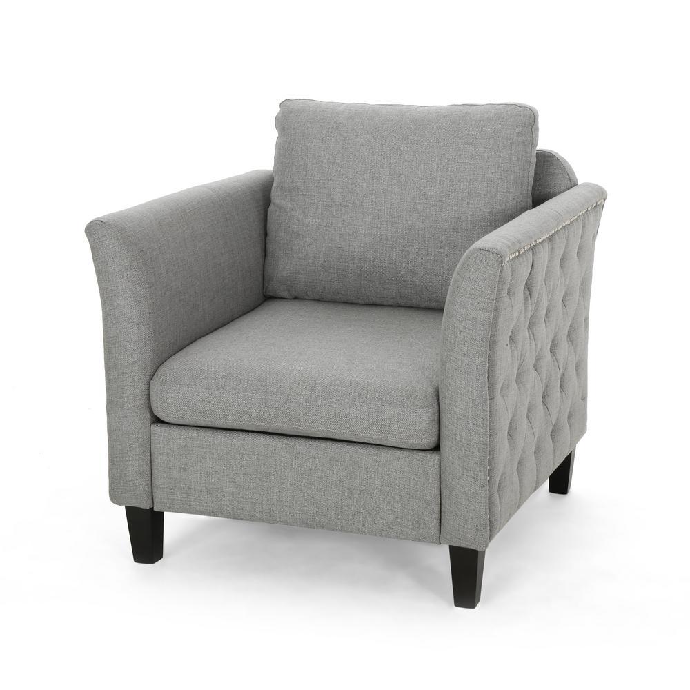 Closermen Grey and Dark Brown Tufted Club Chair