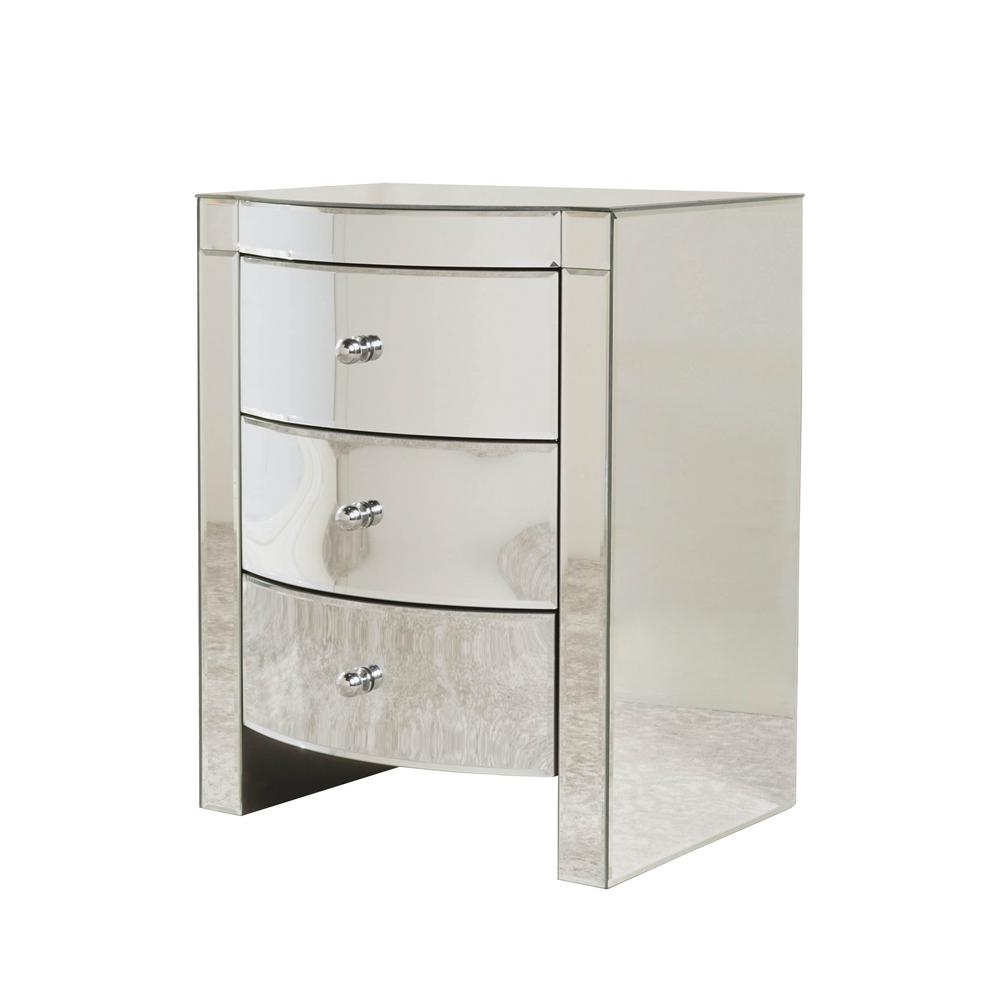 NobleHouse Noble House Roxie Mirrored 3-Drawer Side Table