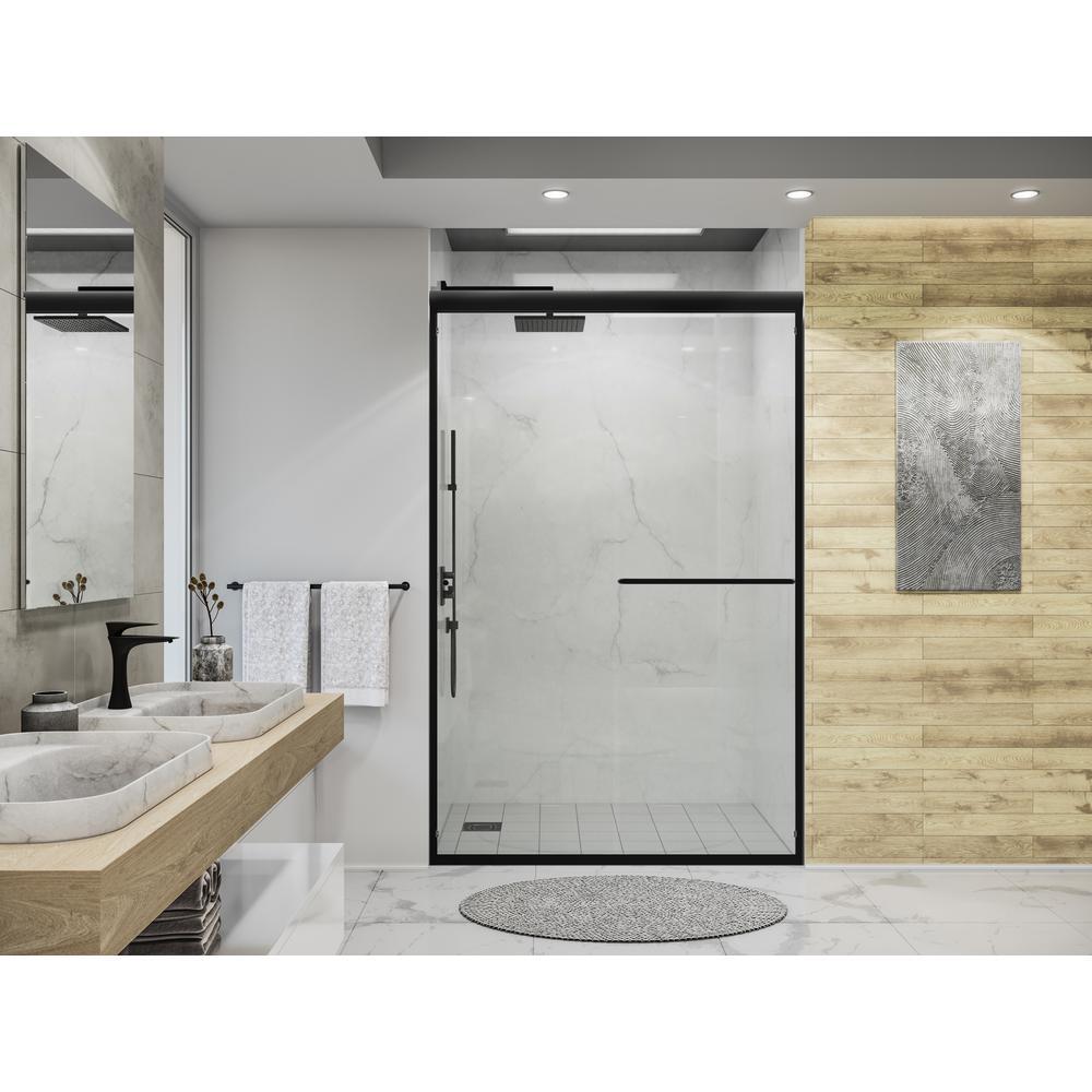 Distinctive 48 in. x 70.5 in. Semi-Frameless Sliding Shower Door in Matte Black
