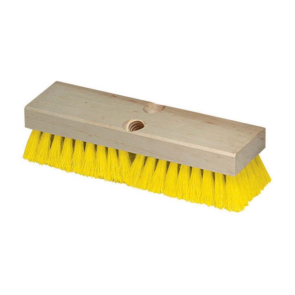10 in. Polypropylene Yellow Deck Scrub Brush (Case of 12)