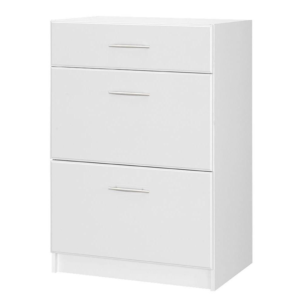 Hampton Bay Select 18.62 in. D x 23.98 in. W x 35.98 in. H MDF 3-Drawer Base Unit Wood Freestanding Cabinet in White