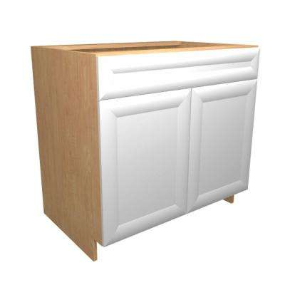 36x34.5x24 in. Dolomiti Sink Base Cabinet with U-Shape Pullout 2 Soft Close Doors and 2 False Drawer Fronts in Bianco