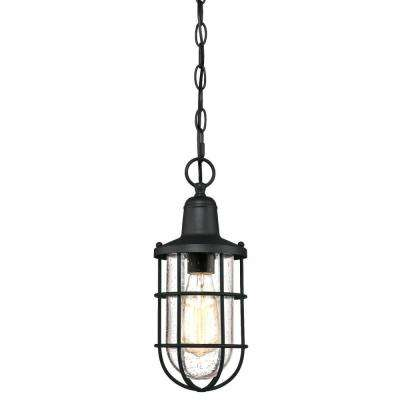 Crestview 1-Light Textured Black Outdoor Hanging Pendant