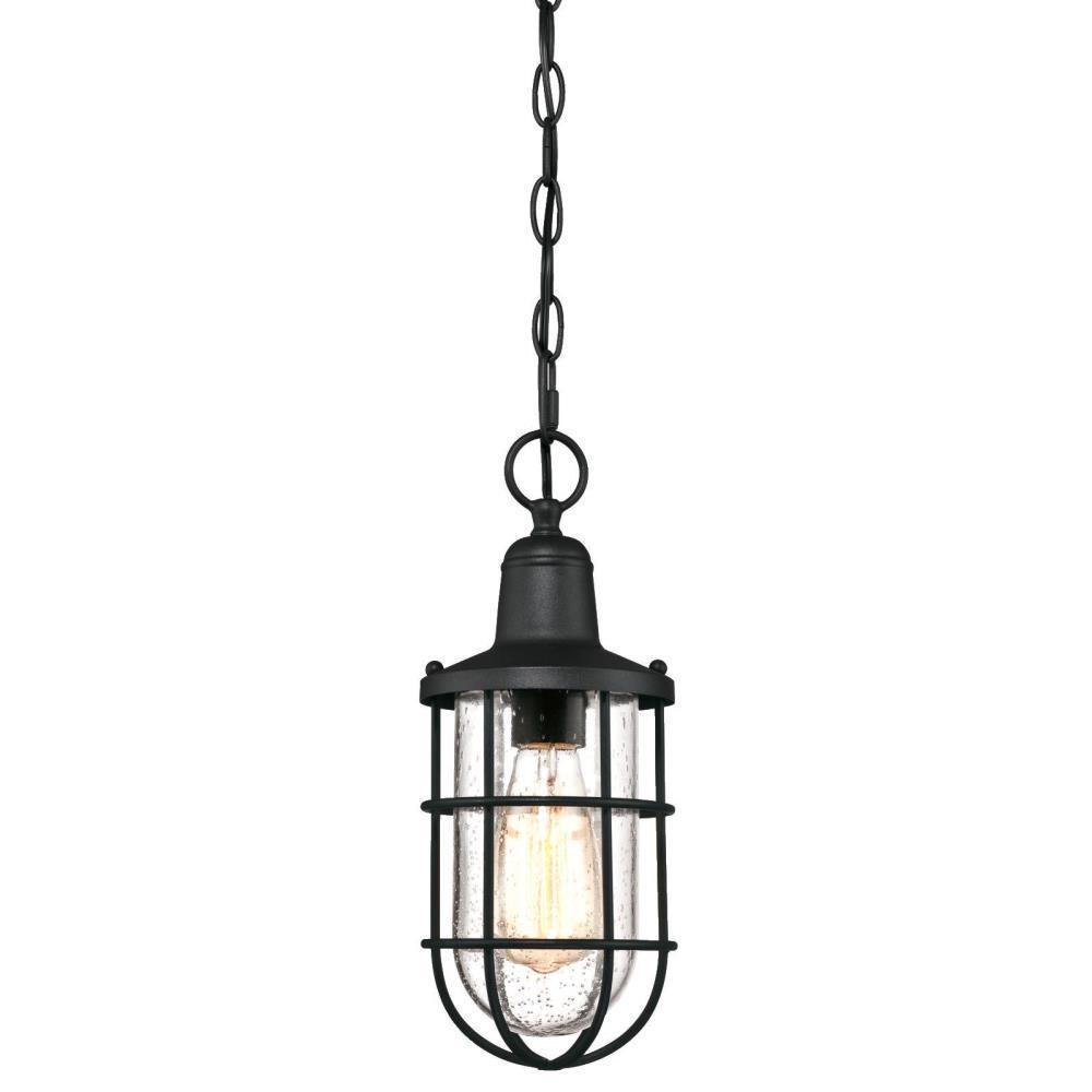 Crestview 1-Light Textured Black Outdoor Hanging Pendant