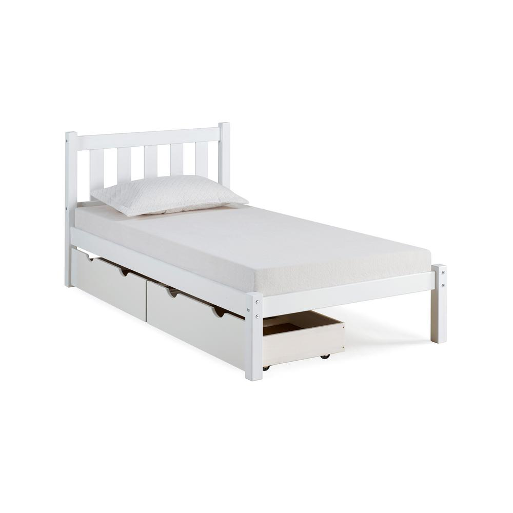 Alaterre Furniture Poppy White Twin Bed with Storage Drawers ...