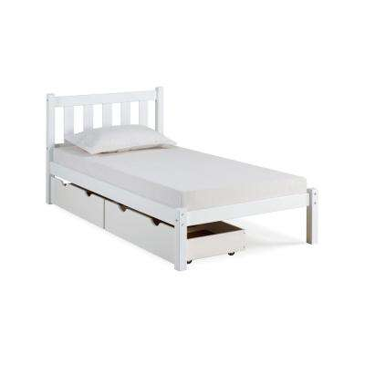 Poppy White Twin Bed with Storage Drawers