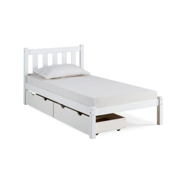Alaterre Furniture Poppy White Twin Bed with Storage Drawers AJPP10WHS