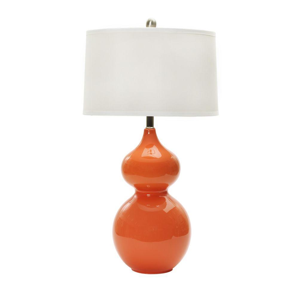 28 in. Orange Nectar Ceramic Table Lamp