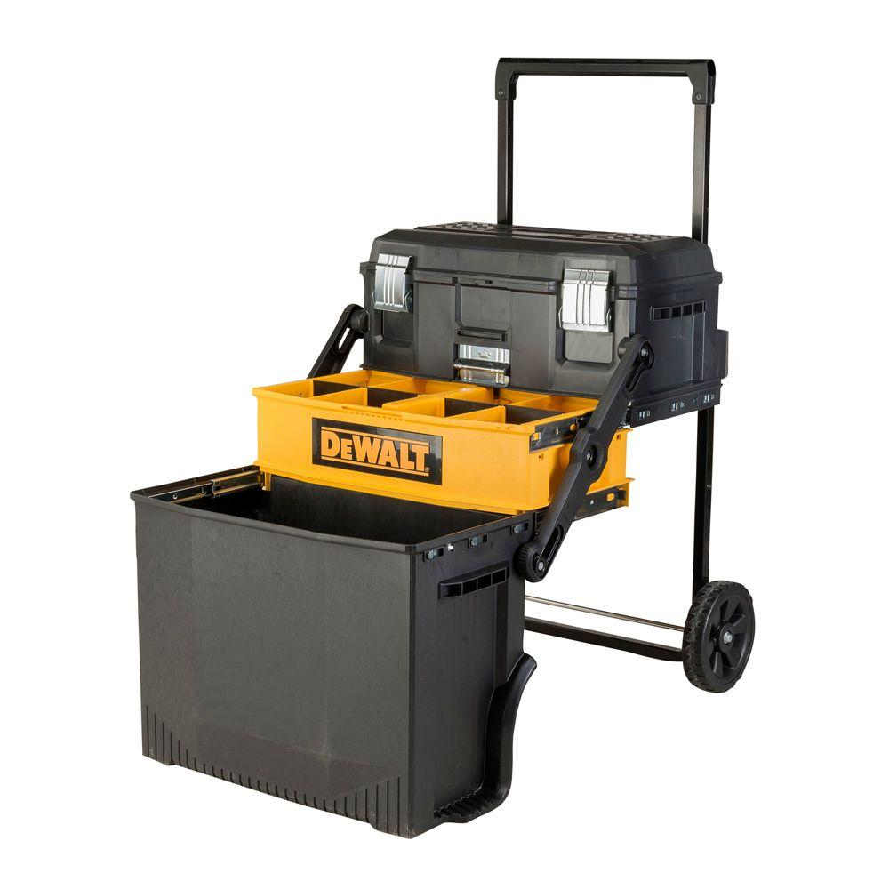 DEWALT 4-in-1 Cantilever Tool Box 16 in Mobile Work Center w// Removable Tray