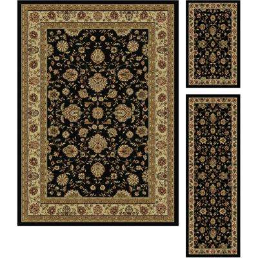 Elegance Black 5 Ft. X 7 Ft. 3 Piece Rug Set