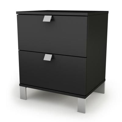 Spark 2-Drawer Nightstand in Pure Black