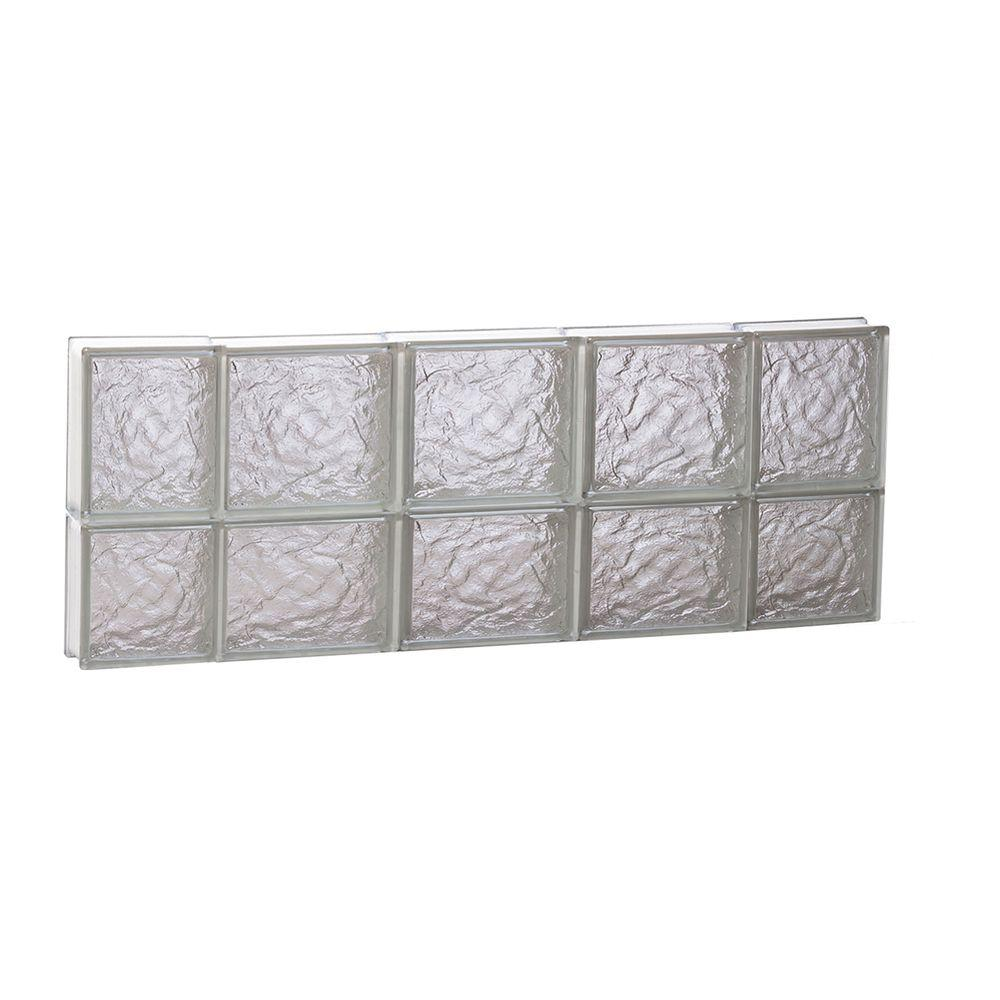 Clearly Secure 34.75 in. x 13.5 in. x 3.125 in. Frameless Ice Pattern Non-Vented Glass Block Window