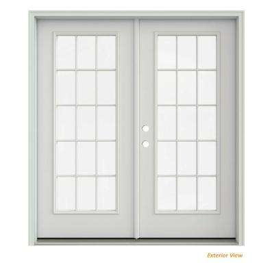 72 in. x 80 in. Primed Steel Right-Hand Inswing 15 Lite Glass Stationary/Active Patio Door