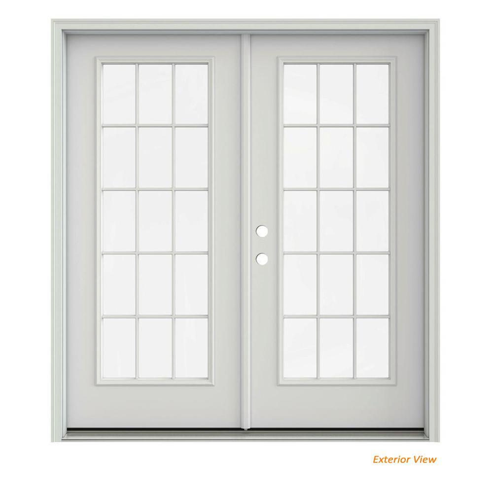 72 in. x 80 in. Primed Steel Right-Hand Inswing 15 Lite Glass Stationary/Active Patio Door