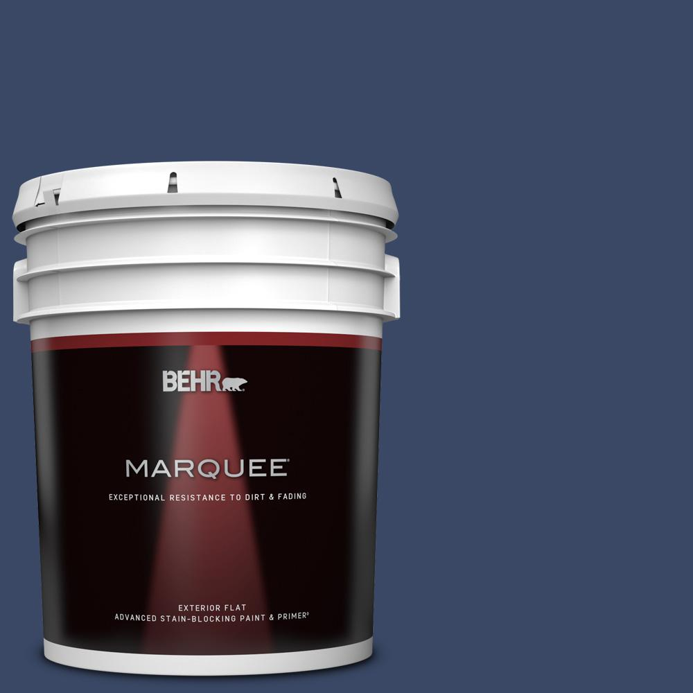 Behr Marquee 5 Gal Mq5 14 Bon Nuit Flat Exterior Paint And Primer In One 445305 The Home Depot
